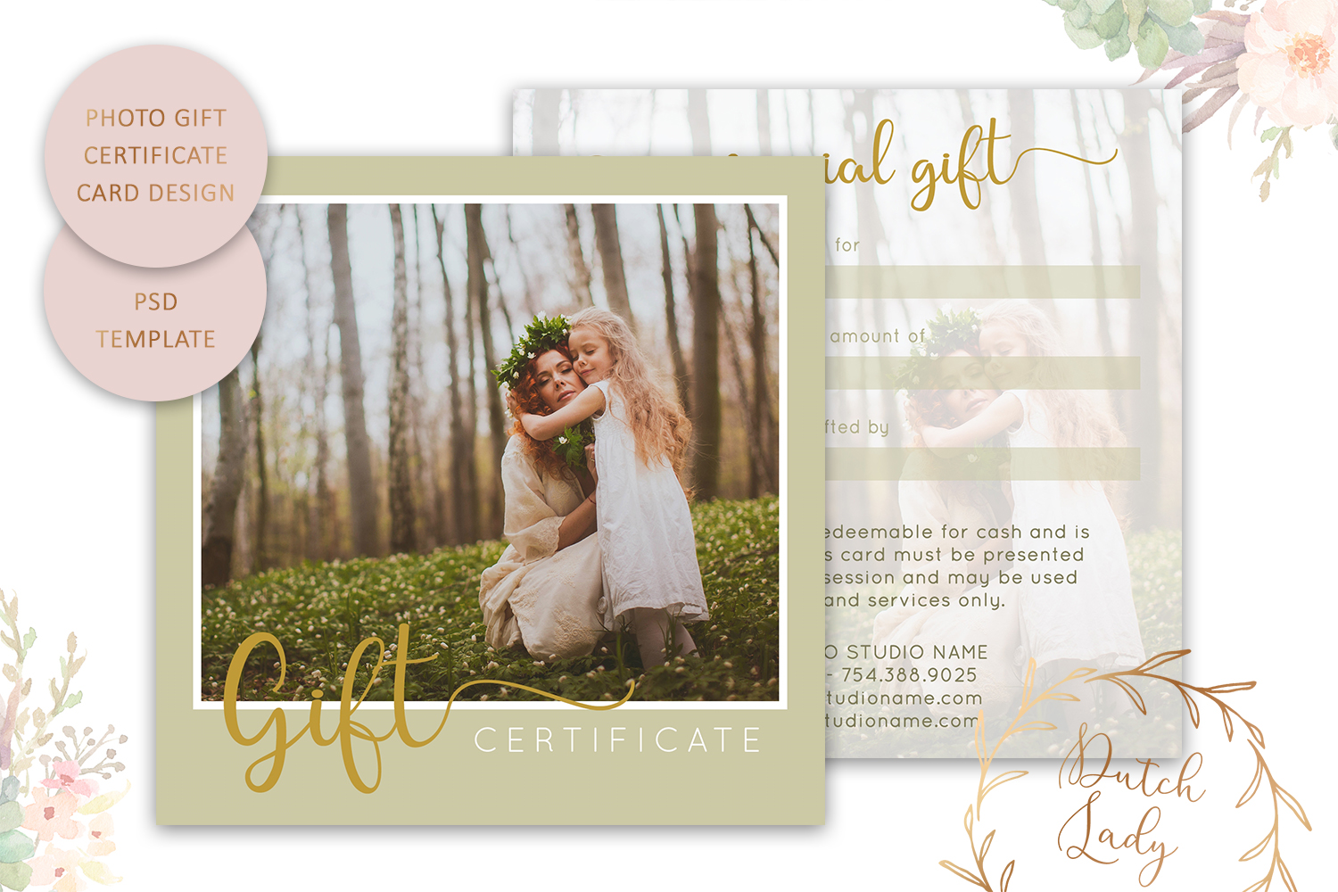 Photo Gift Card Template For Adobe Photoshop 6