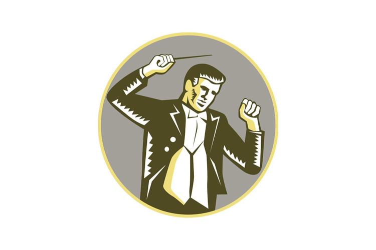 Conductor Waving Baton Circle Woodcut example image 1