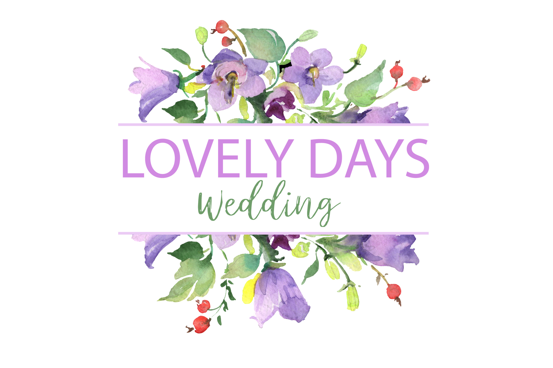 LOGO with red hibiscus and bluebells Watercolor png example image 5