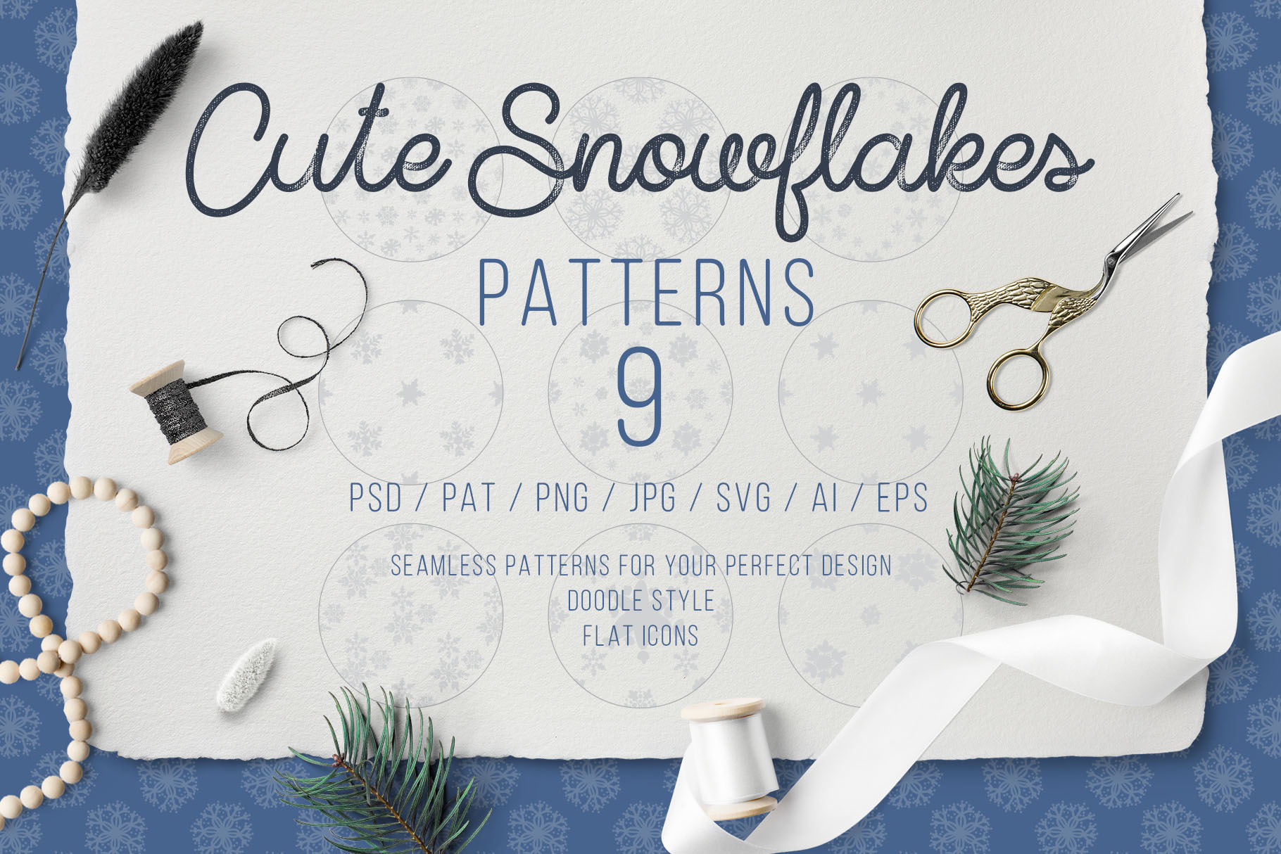 Cute Snowflakes - Winter Doodle Patterns example image 1