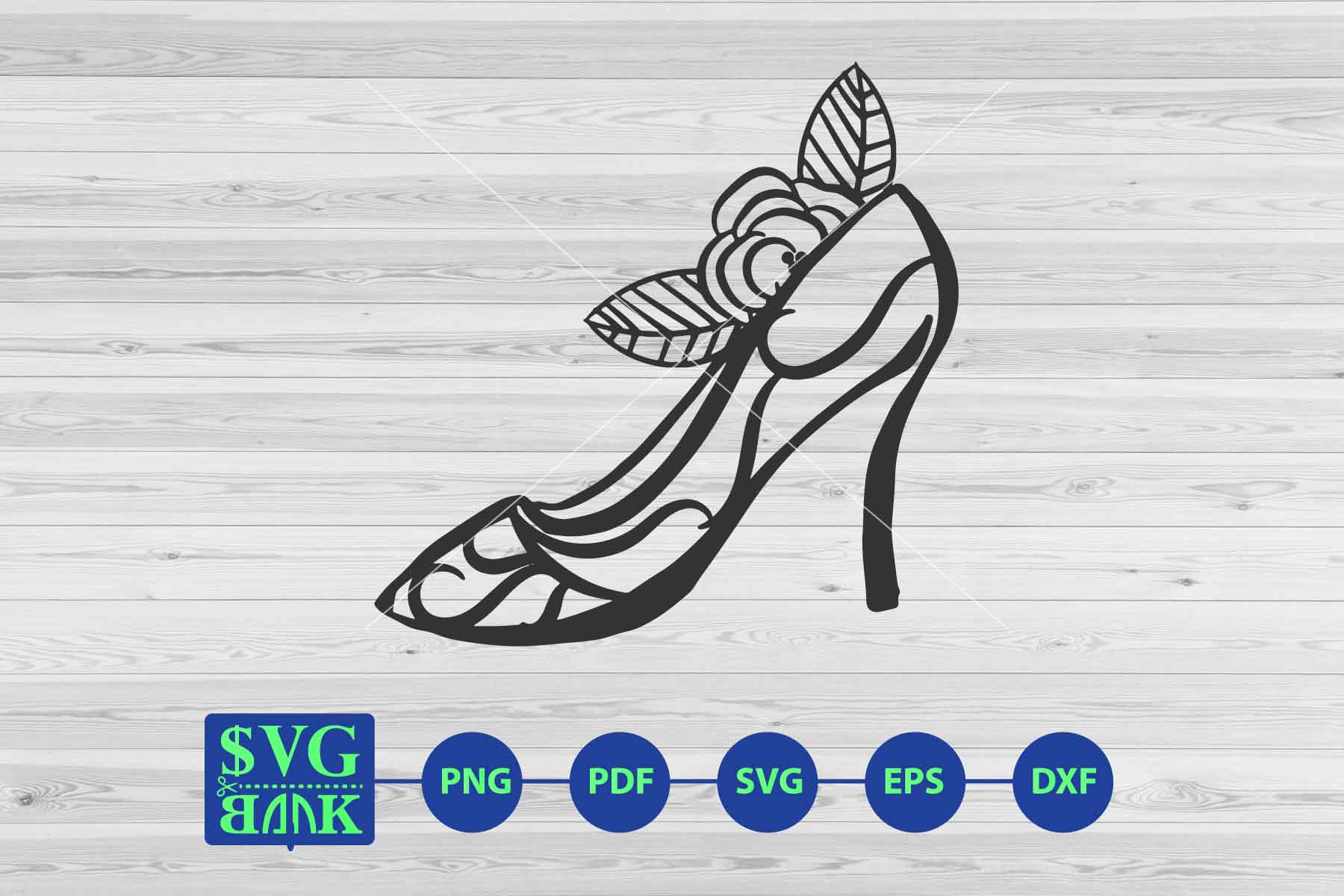 heel svg, woman shoes with flower svg clipart cut file example image 1