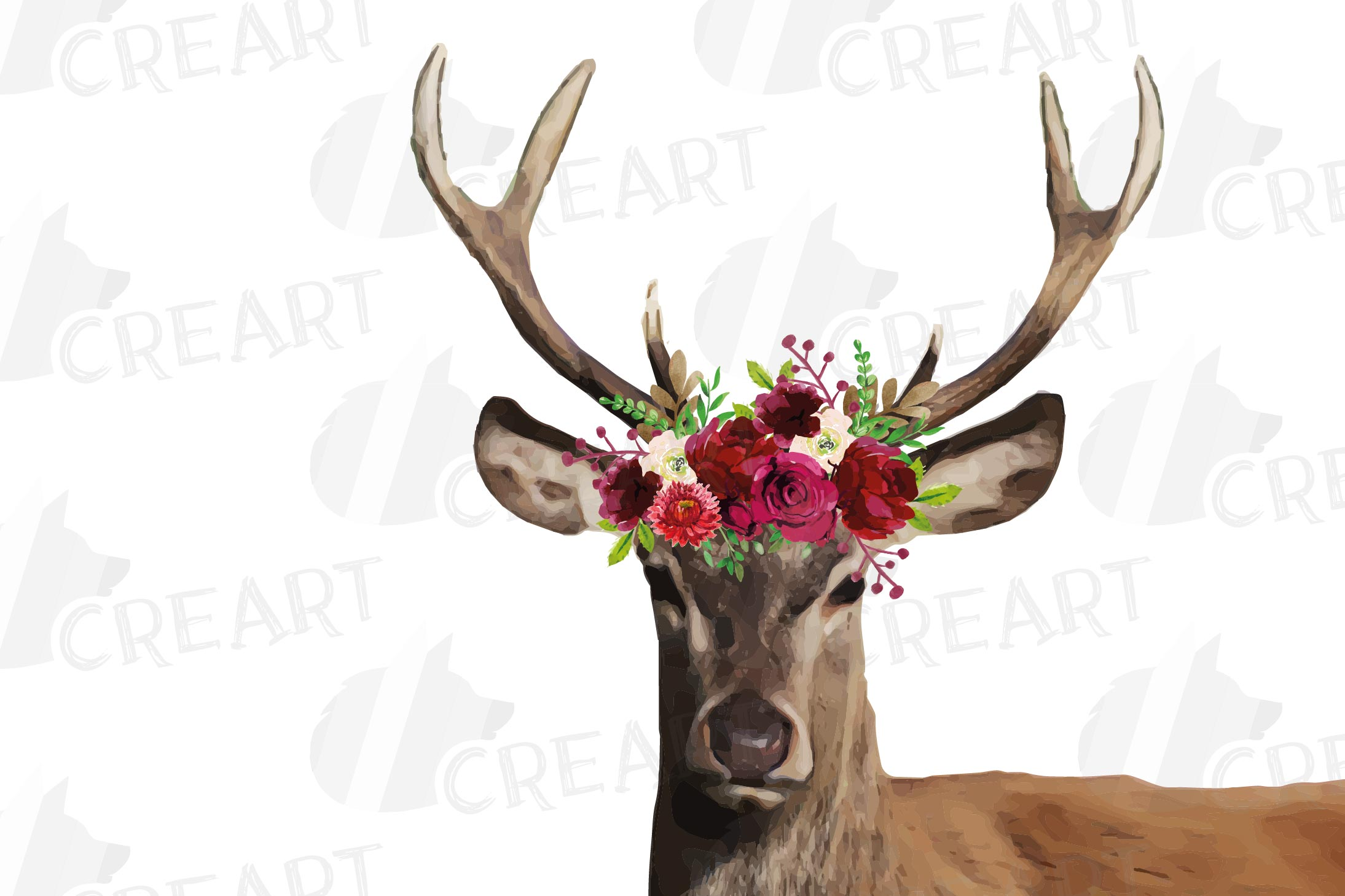Deer couple with floral burgundy crown match shirt clip art example image 2