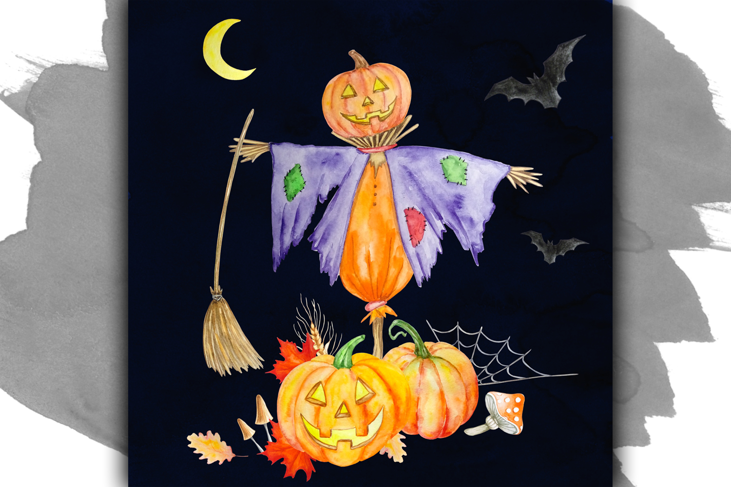 Halloween watercolor clipart example image 7