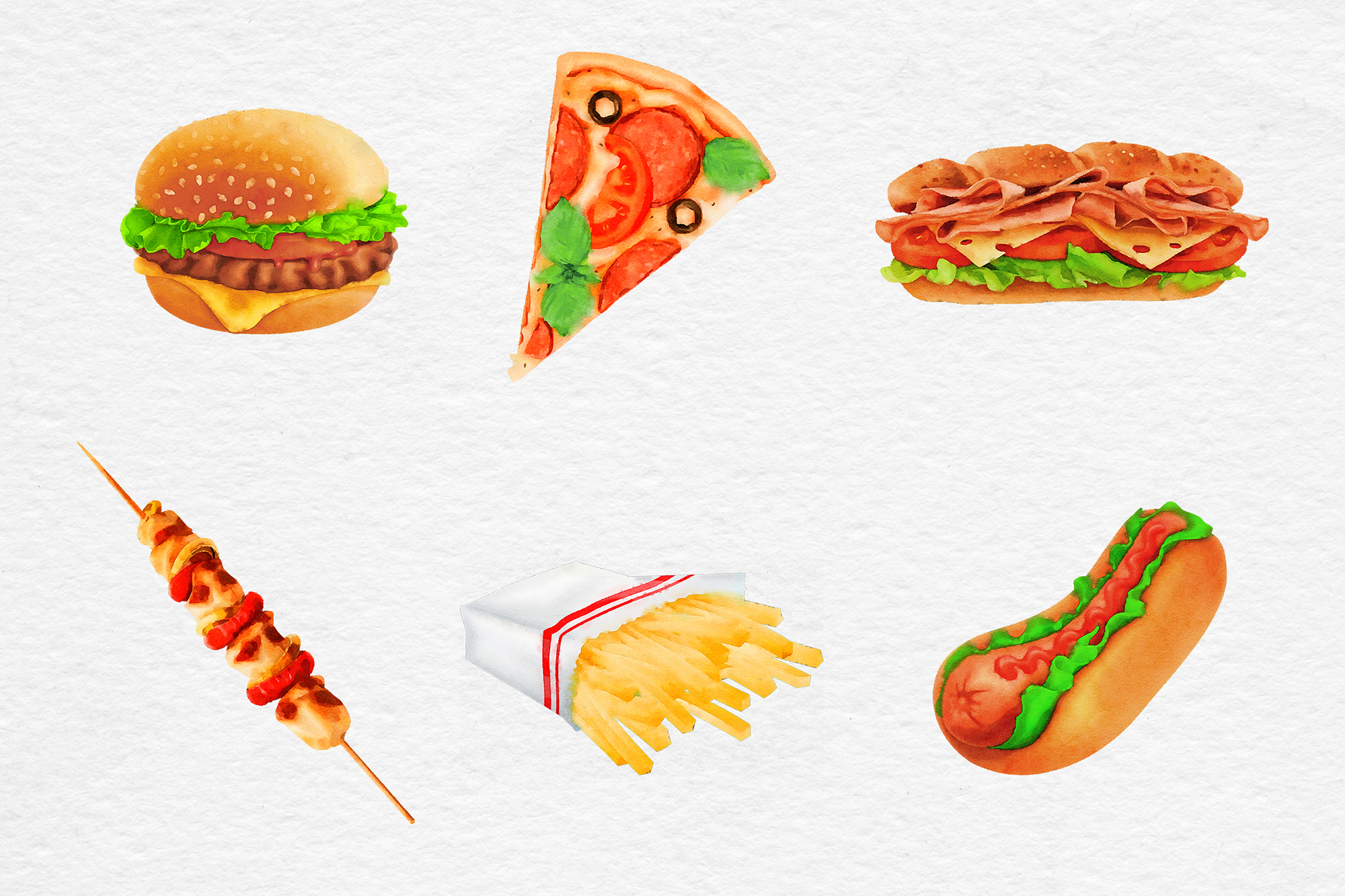 Watercolor Fast Food Clipart example image 2