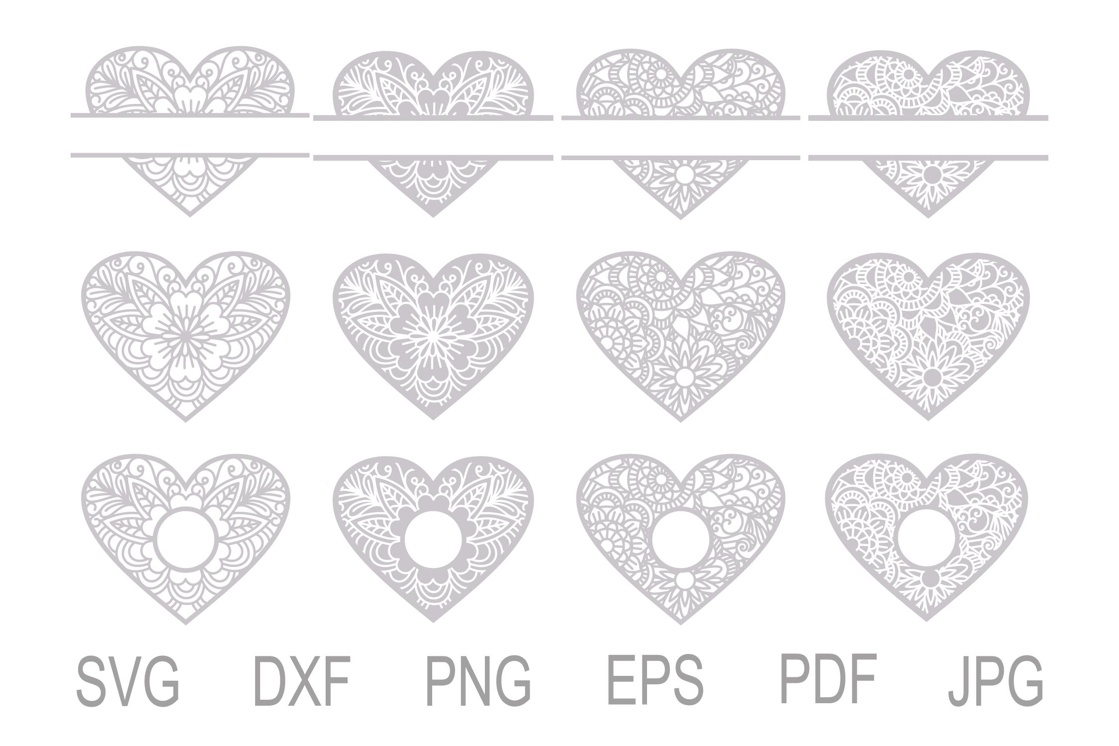 Heart SVG, Zentangle Heart SVG, Mandala Heart, Heart Frames example image 2