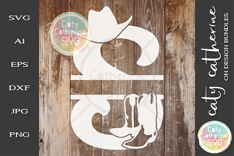 Letter S Cowboy Monogram SVG Includes Cowboy Boots example image 1