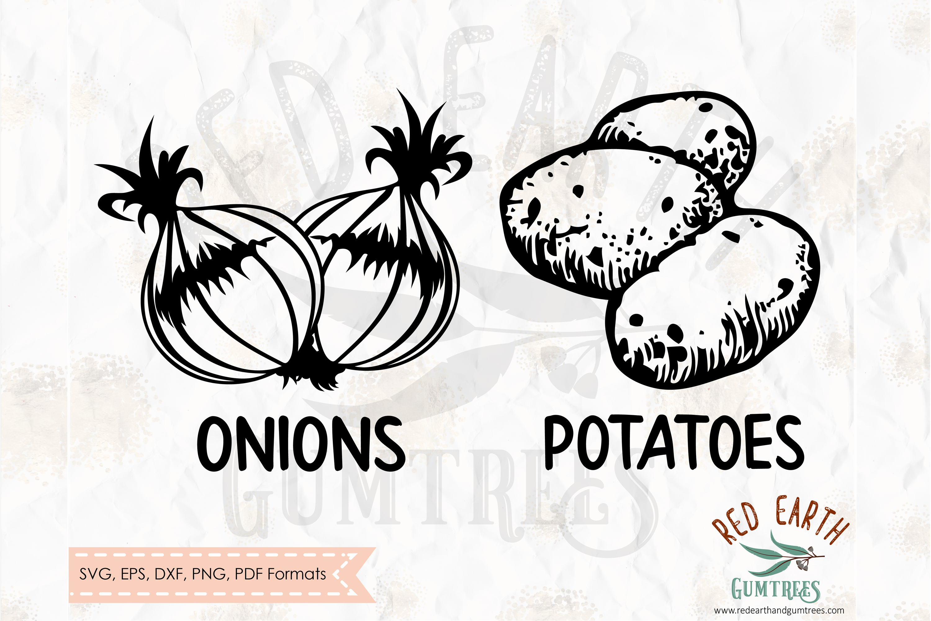 Rustic kitchen potato and onions sack decals SVG,DXF,PNG,EPS example image 1