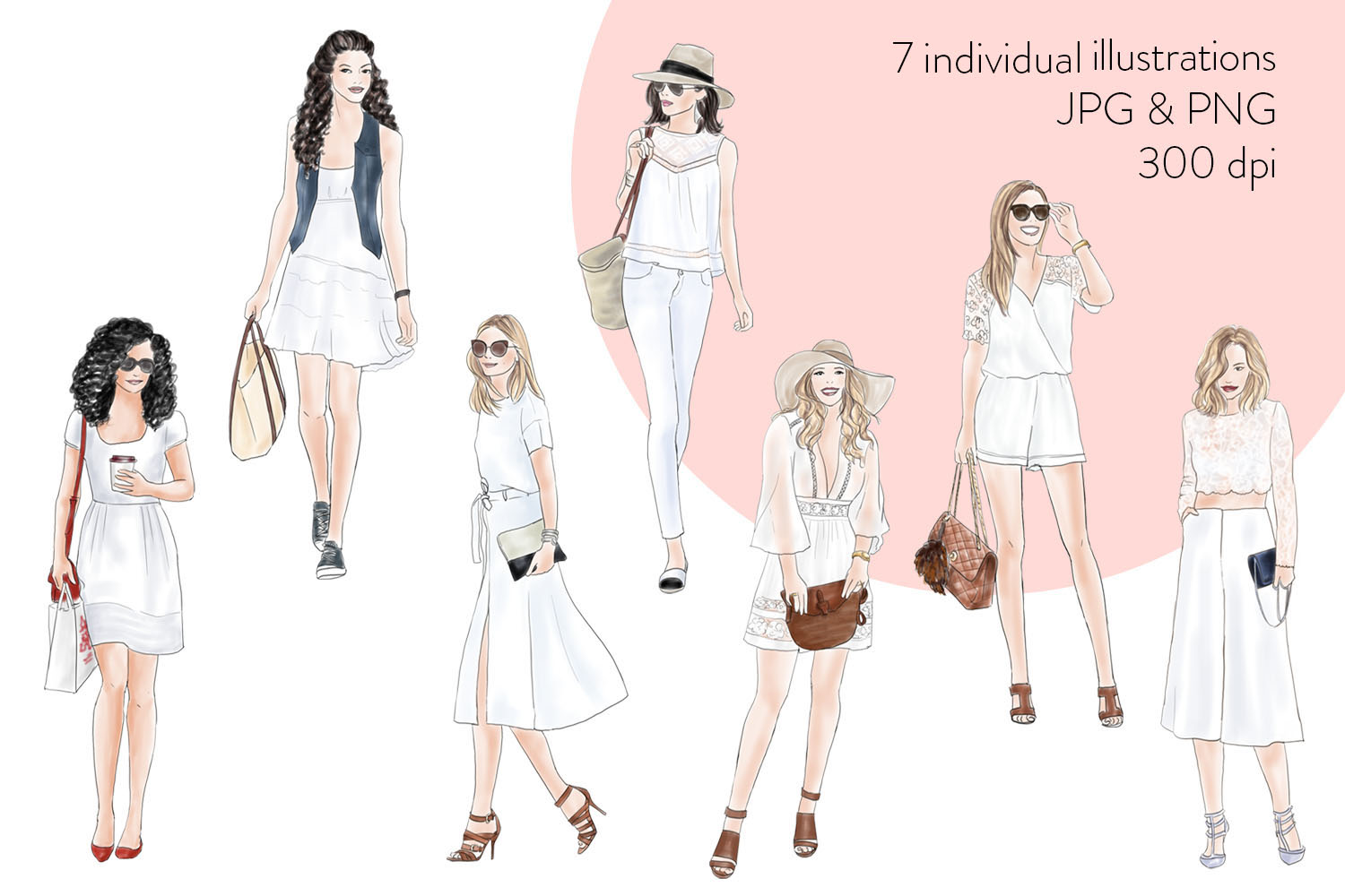 Watercolor Fashion Clipart - Girls in Summer White - Light Skin example image 4