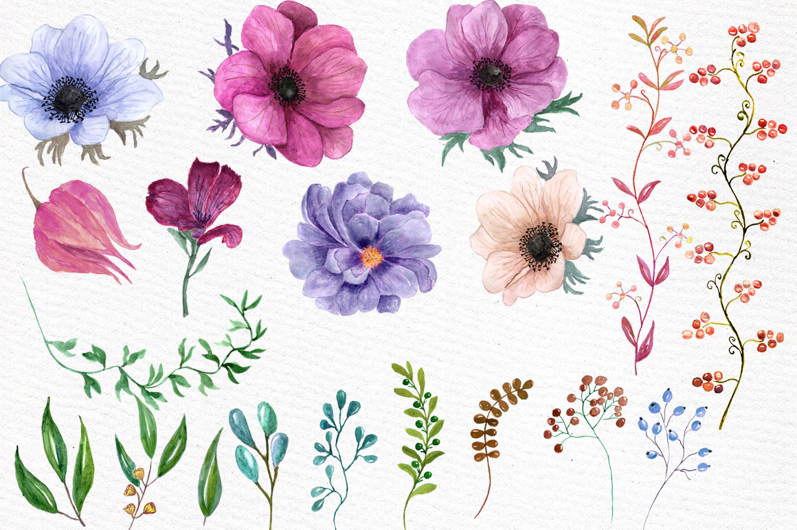 Watercolor floral elements example image 3
