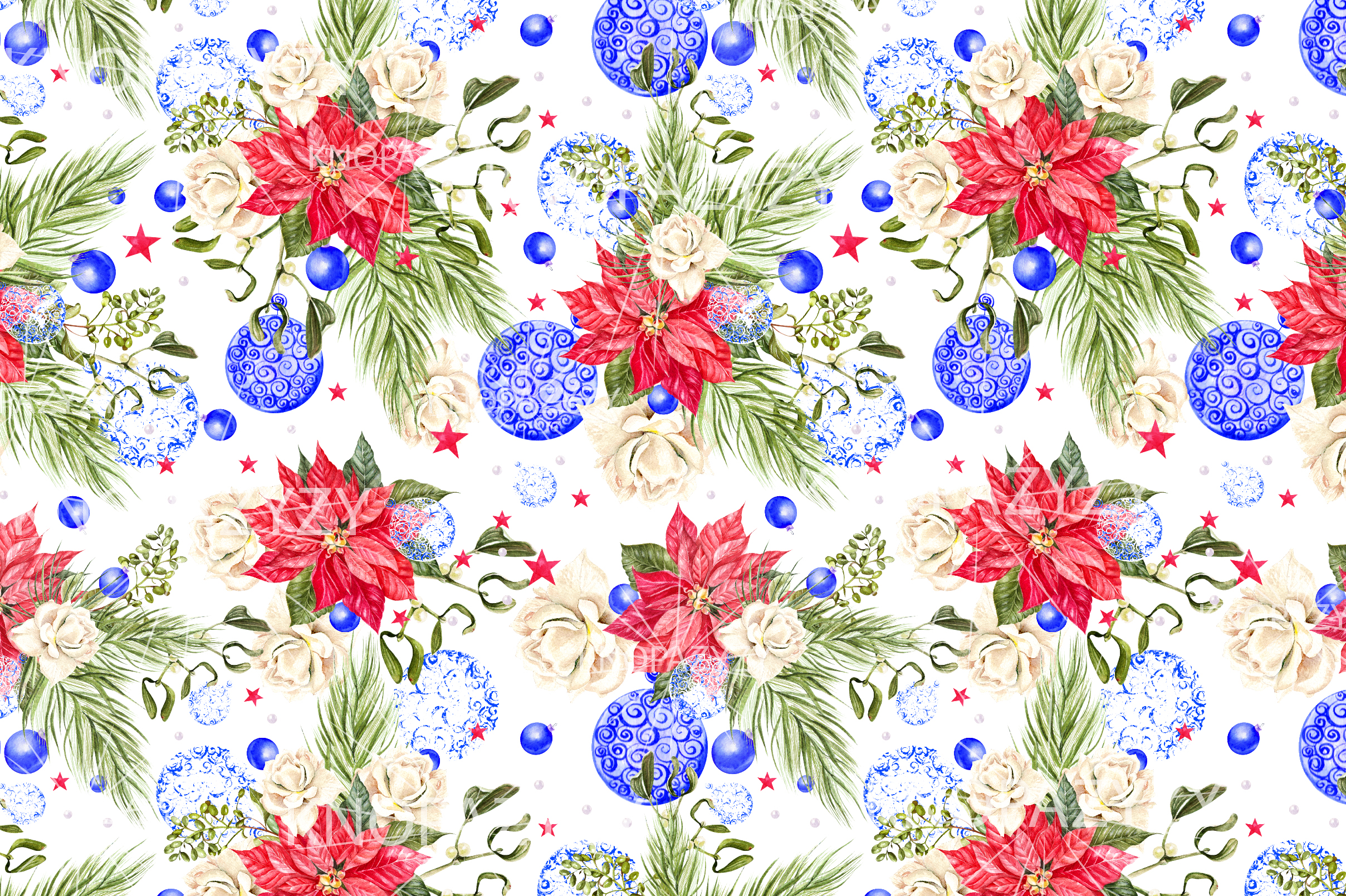 Hand Drawn Watercolor Christmas 13 Patterns example image 11