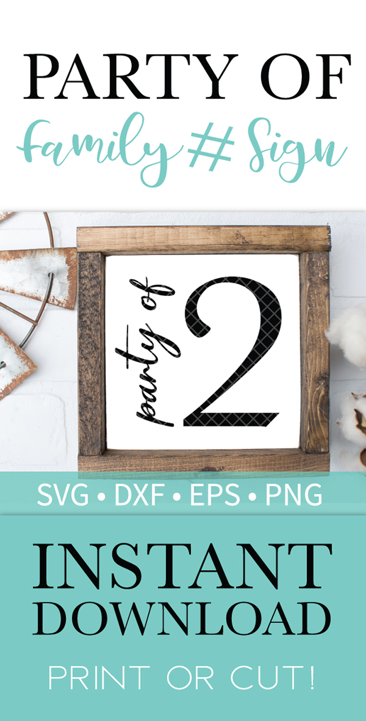 Party of 2 Family Sign SVG DXF EPS PNG Clipart Cut File example image 2
