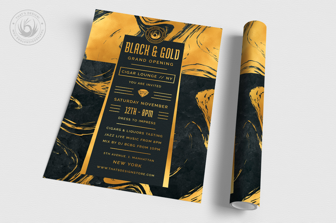 Black and Gold Flyer Template V12 example image 3