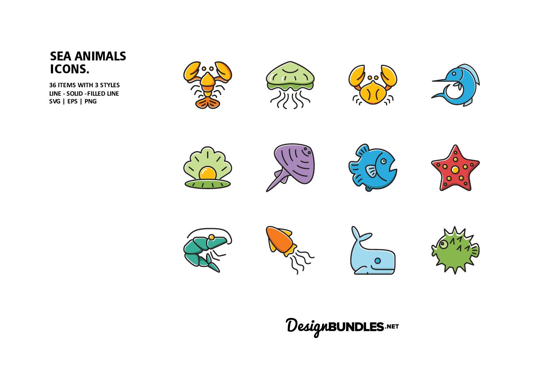 Sea Animals Icons example image 1