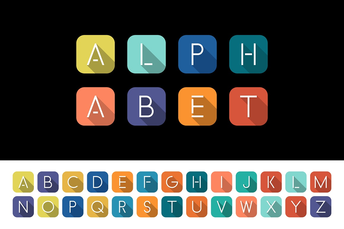 Colorful minimalistic flat alphabet example image 1