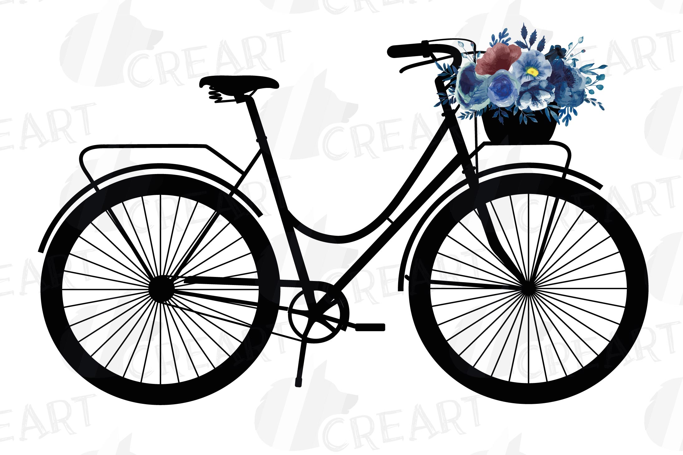 Navy blue floral blush and yellow bicycles clip art pack example image 4