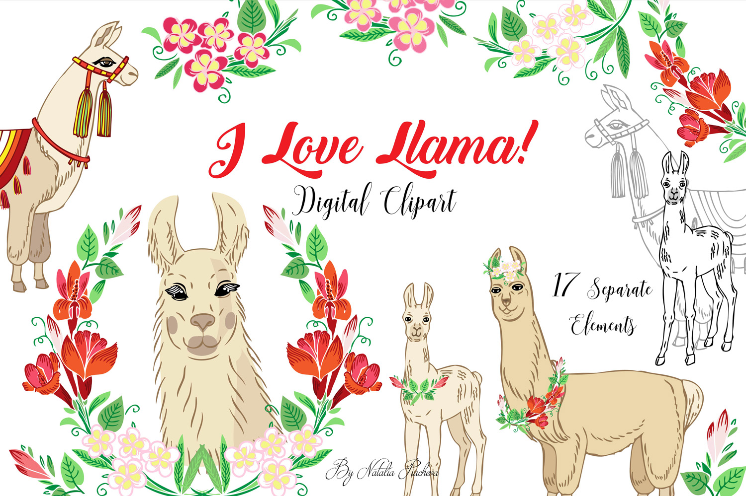 Llama Clipart with red flowers example image 1