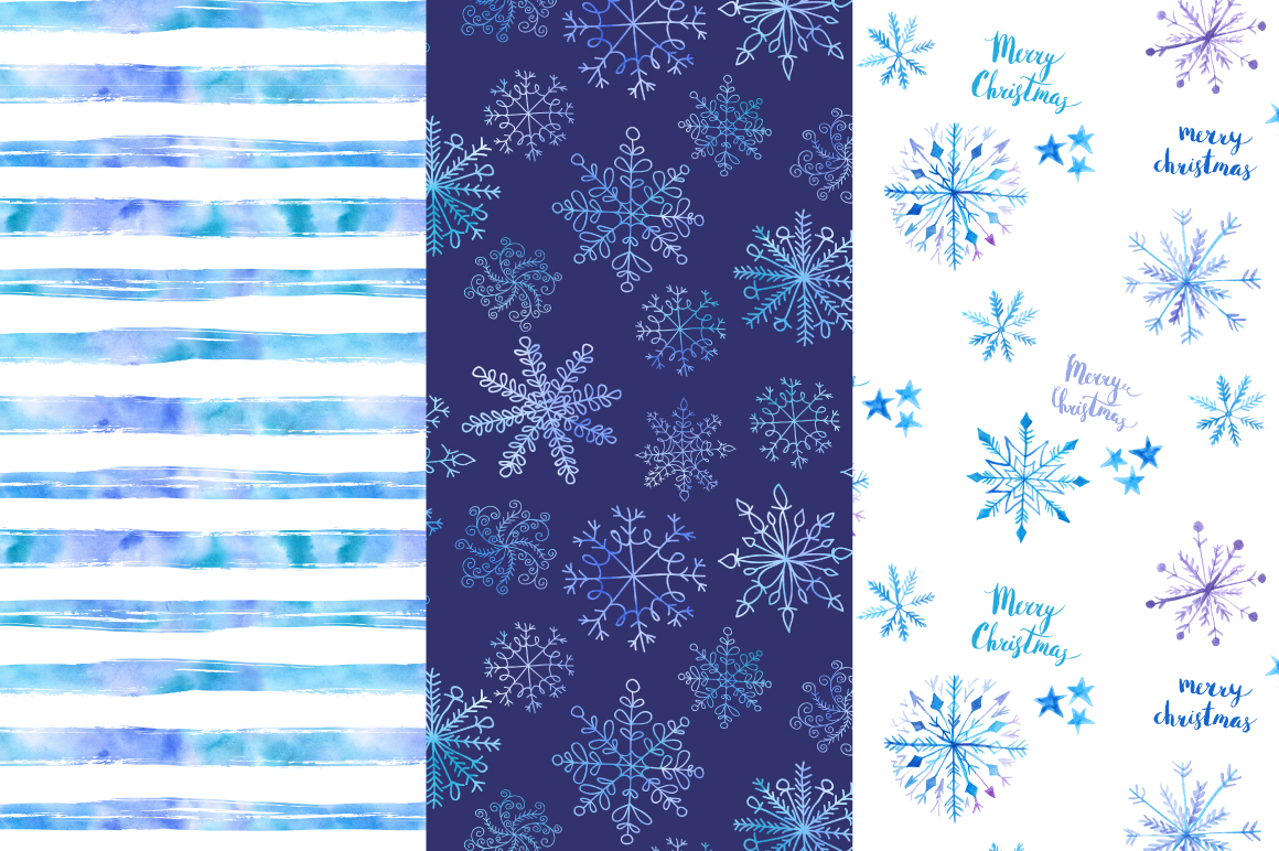 Watercolor Christmas Snow Patterns example image 3