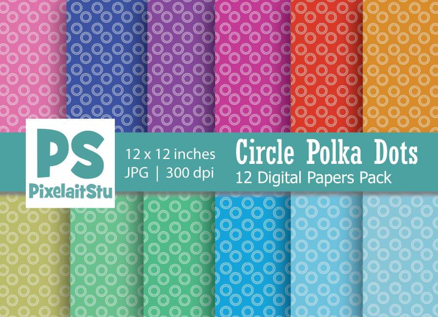 Circle Polka Dots Pattern Digital Paper example image 1