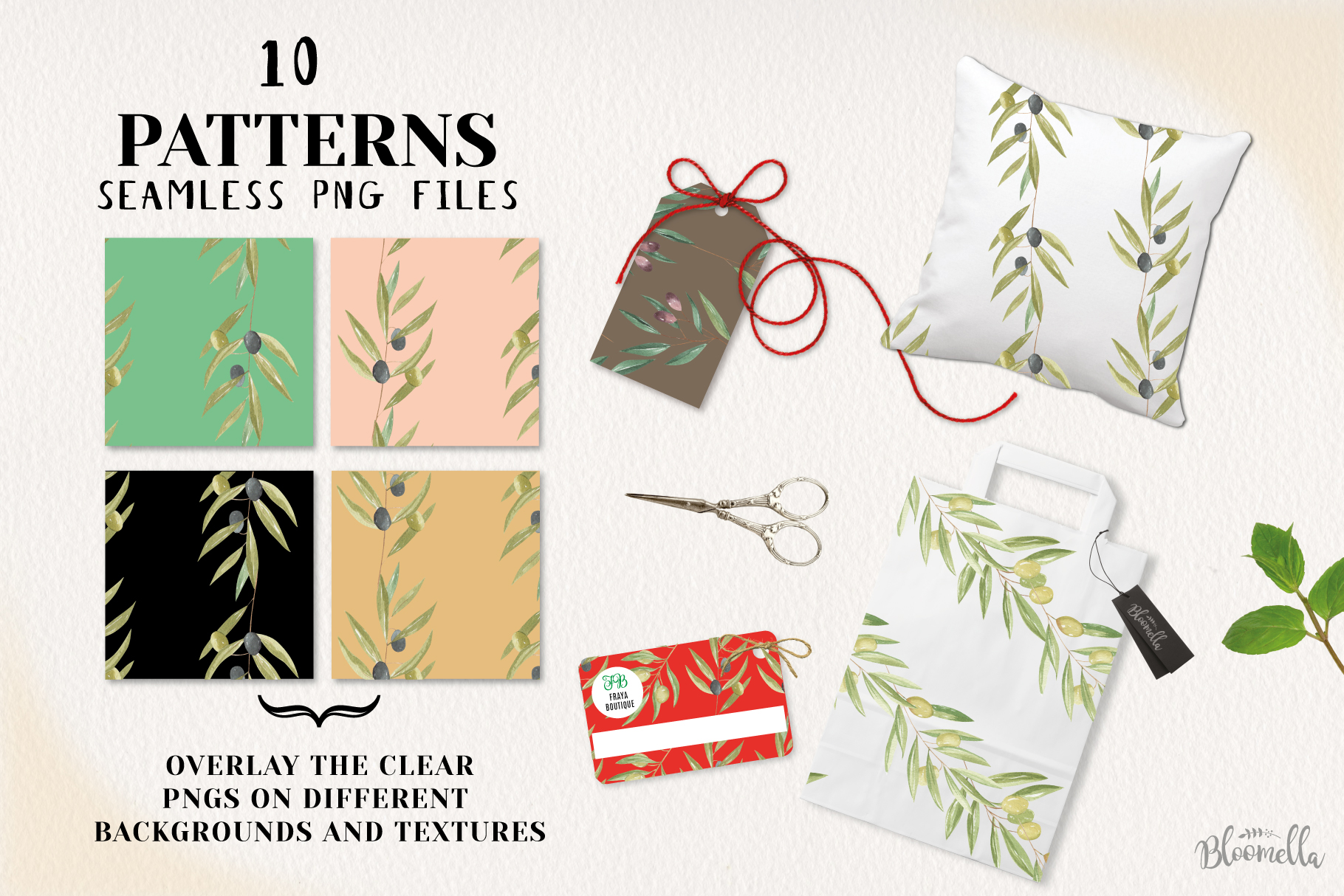 Olive Branches Seamless Patterns Digital Papers Greenery example image 2
