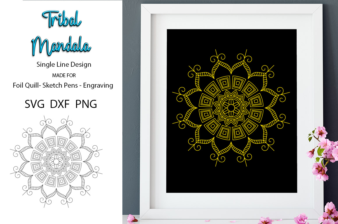 Tribal Mandala for foil Quill|Single Line Design example image 1