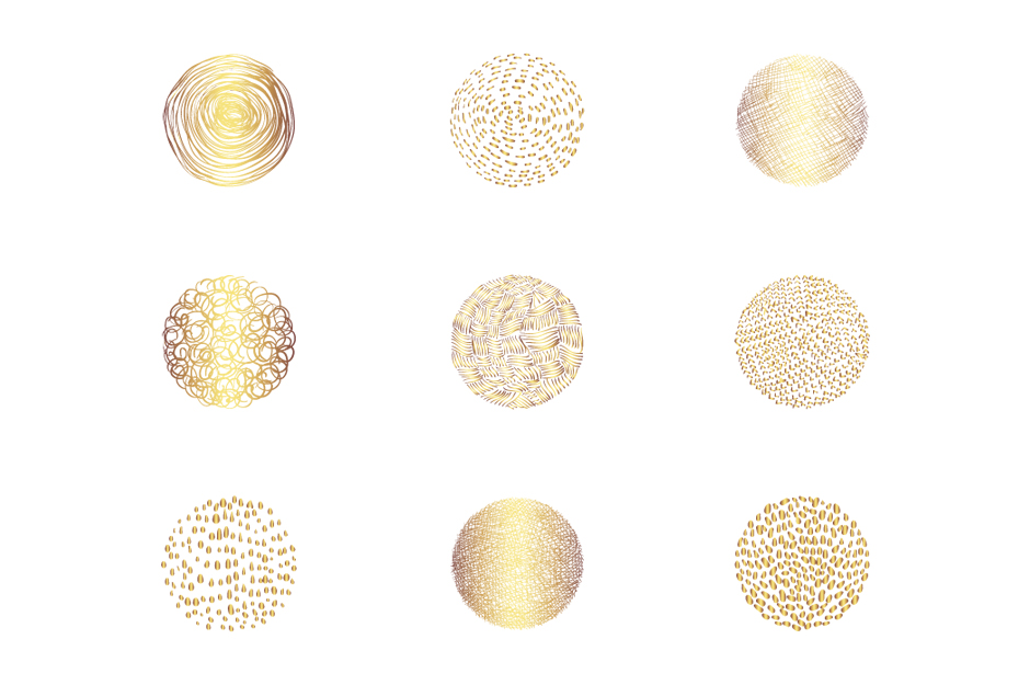 Abstract gold round textures clip art set example image 4