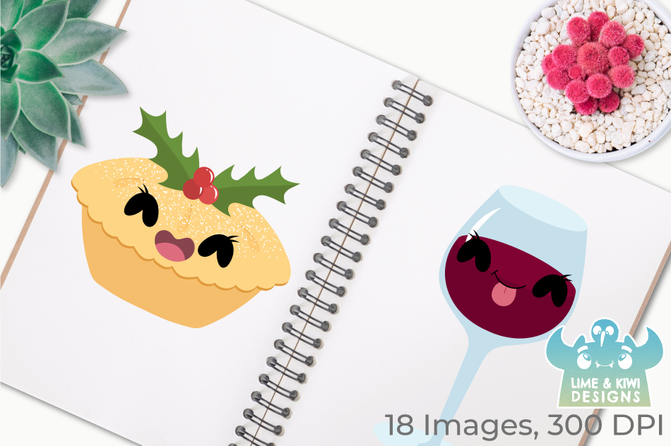 Cute Christmas Dinner Clipart, Instant Download Vector Art example image 3