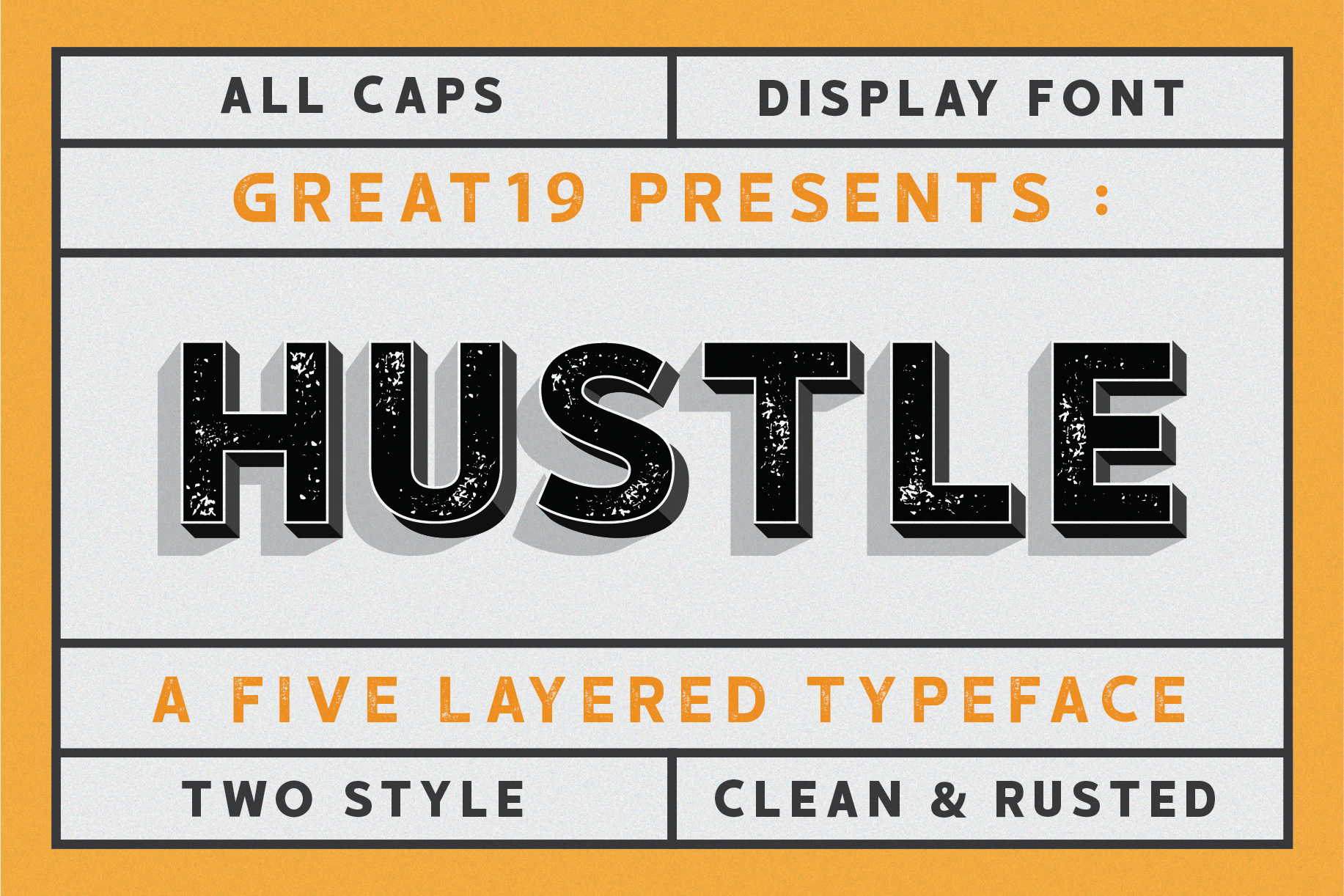 HUSTLE | 5 layers display font example image 1