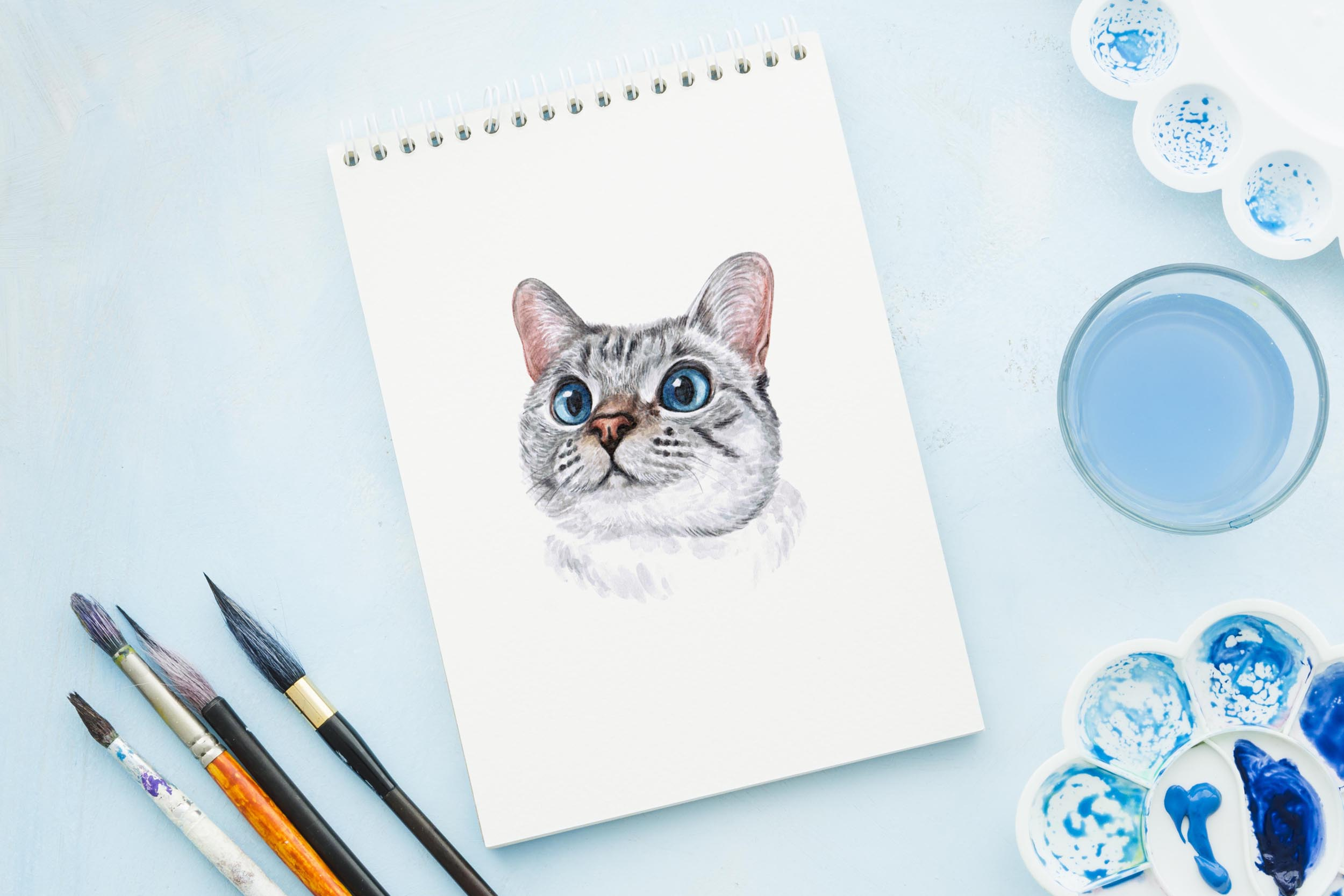 Watercolor 18 cat breeds illustrations. Cute cat. Meow. example image 12