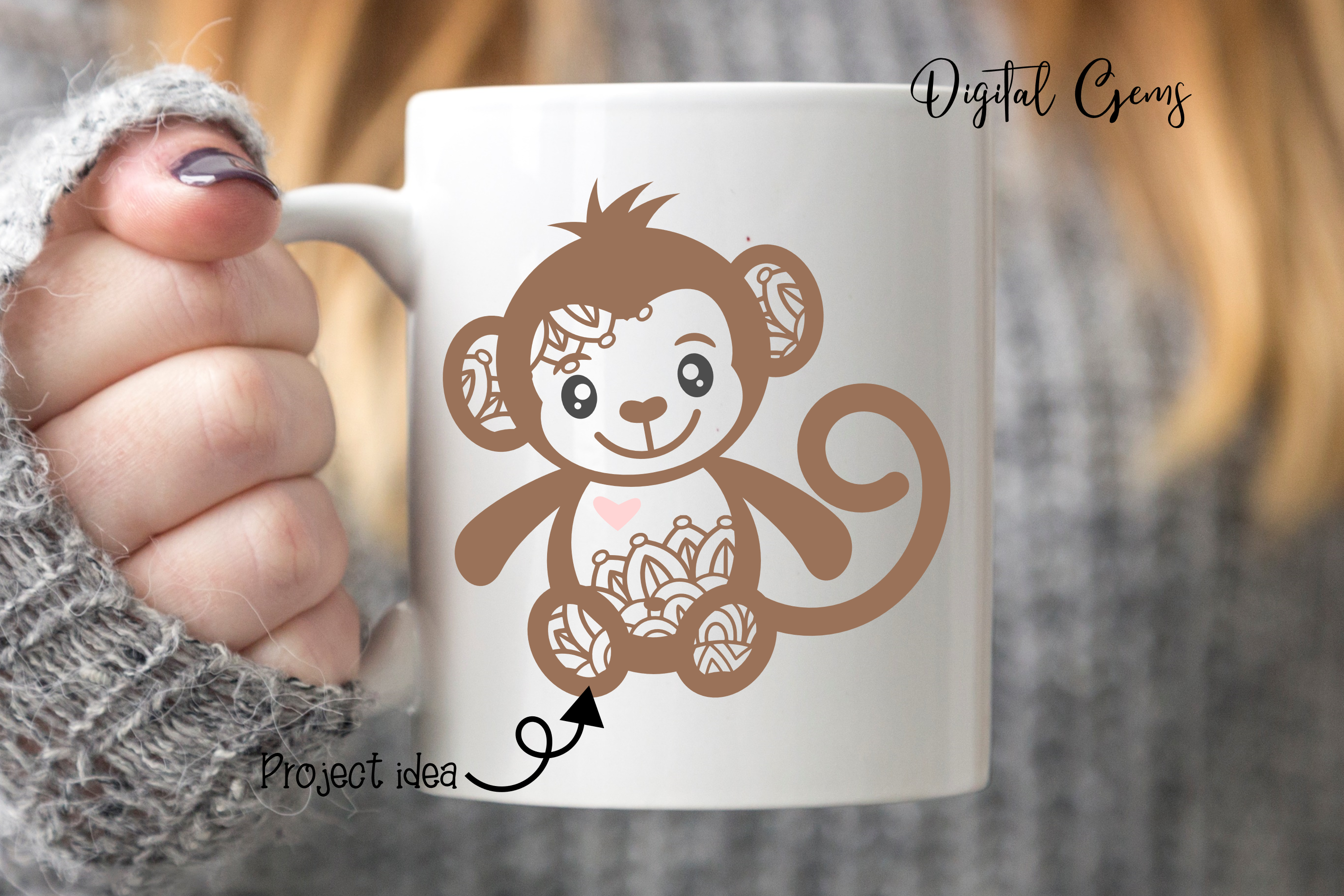 Monkey SVG / PNG / EPS / DXF Files example image 3