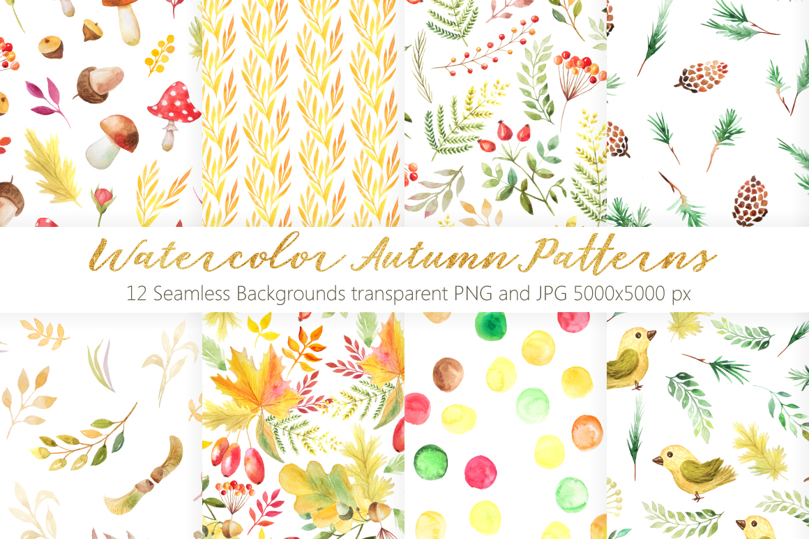 Watercolor Autumn Patterns Vol.2 example image 1