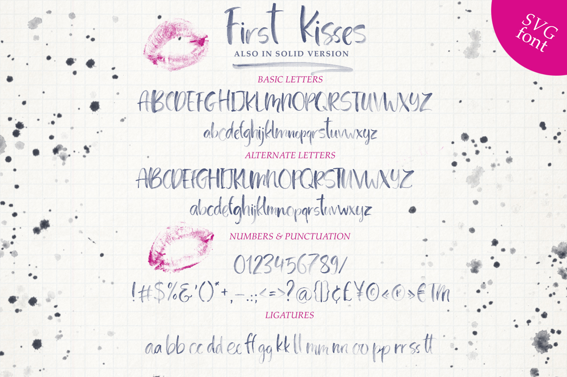 First Kisses. SVG Font Collection. example image 17