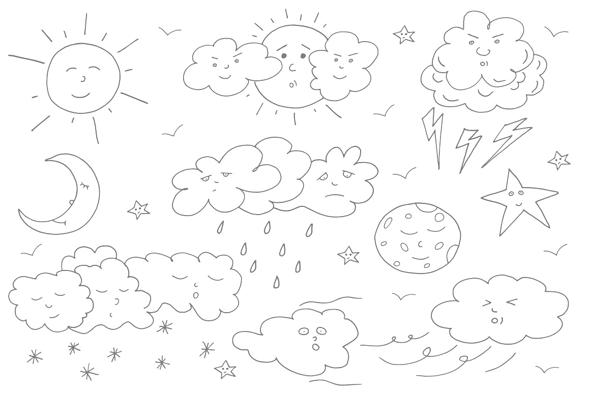 Doodle weather set. example image 1