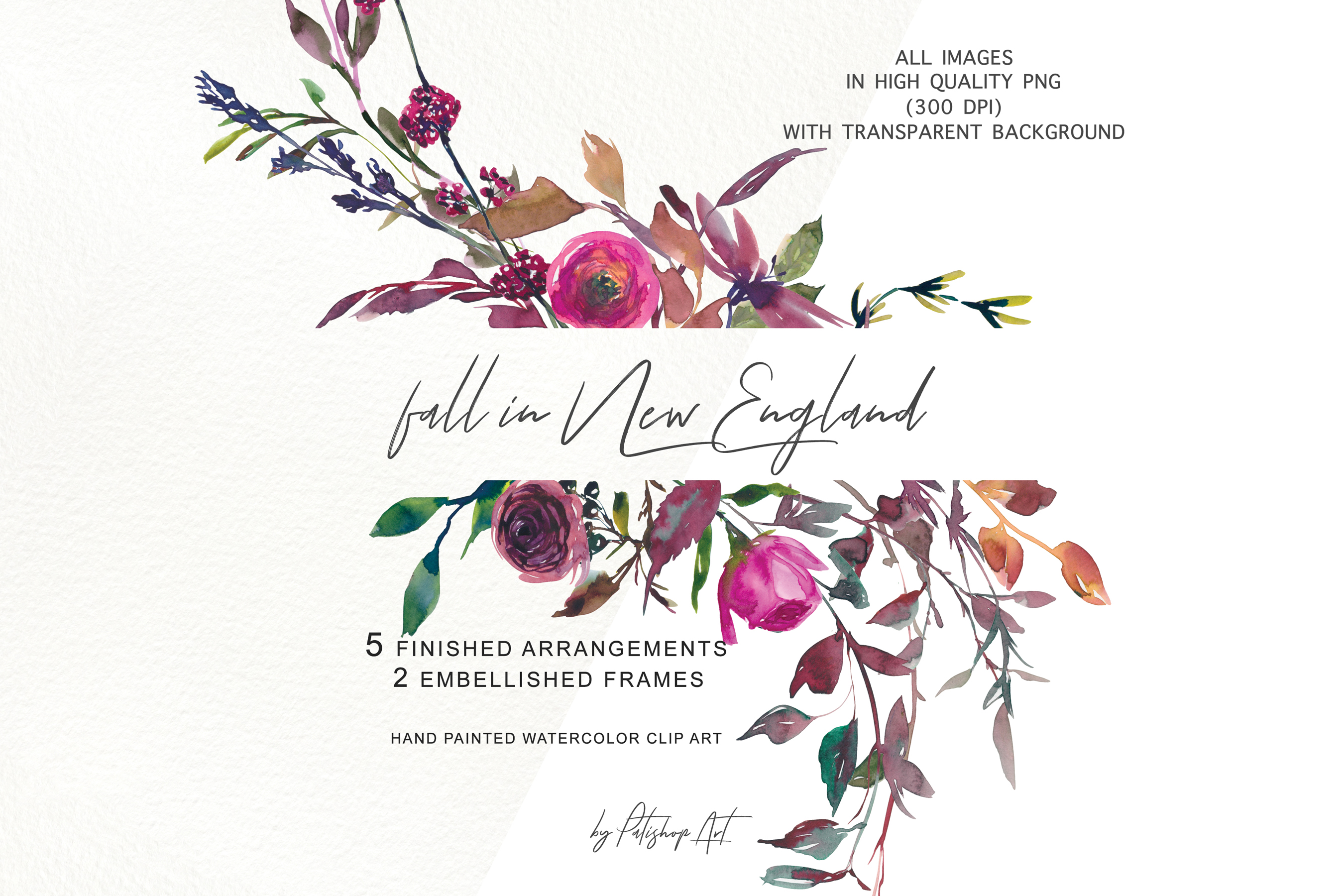 Watercolor Fall Twigs Herbs Flowers Arrangements Clipart example image 1