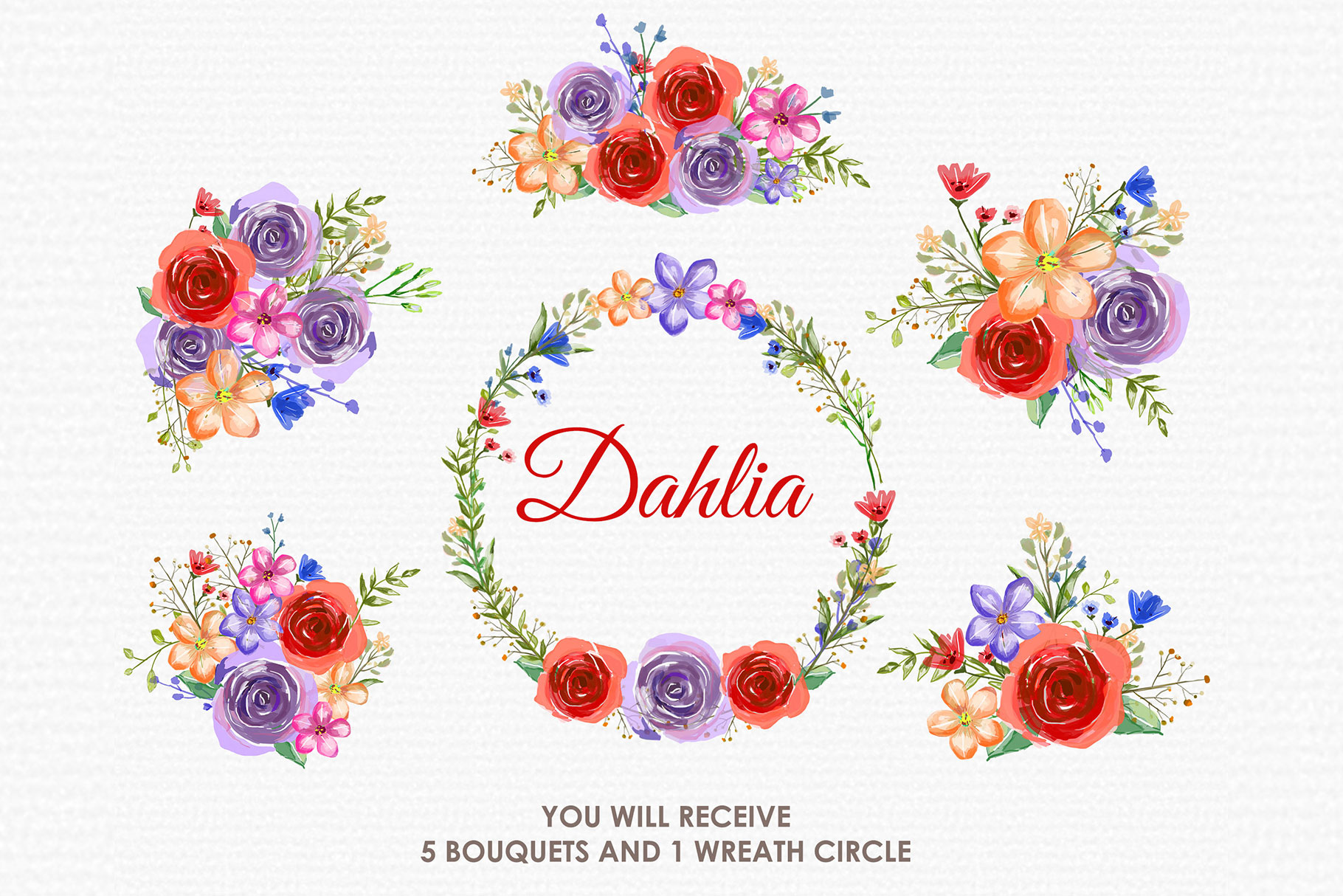 Dahlia - Digital Watercolor Floral Flower Style Clipart example image 3