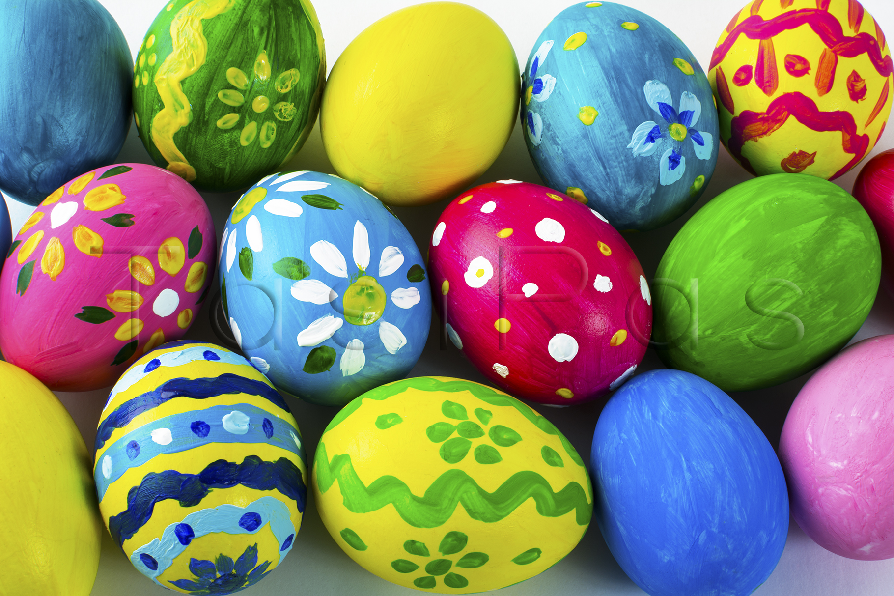 Easter background of multicolored Easter eggs example image 1