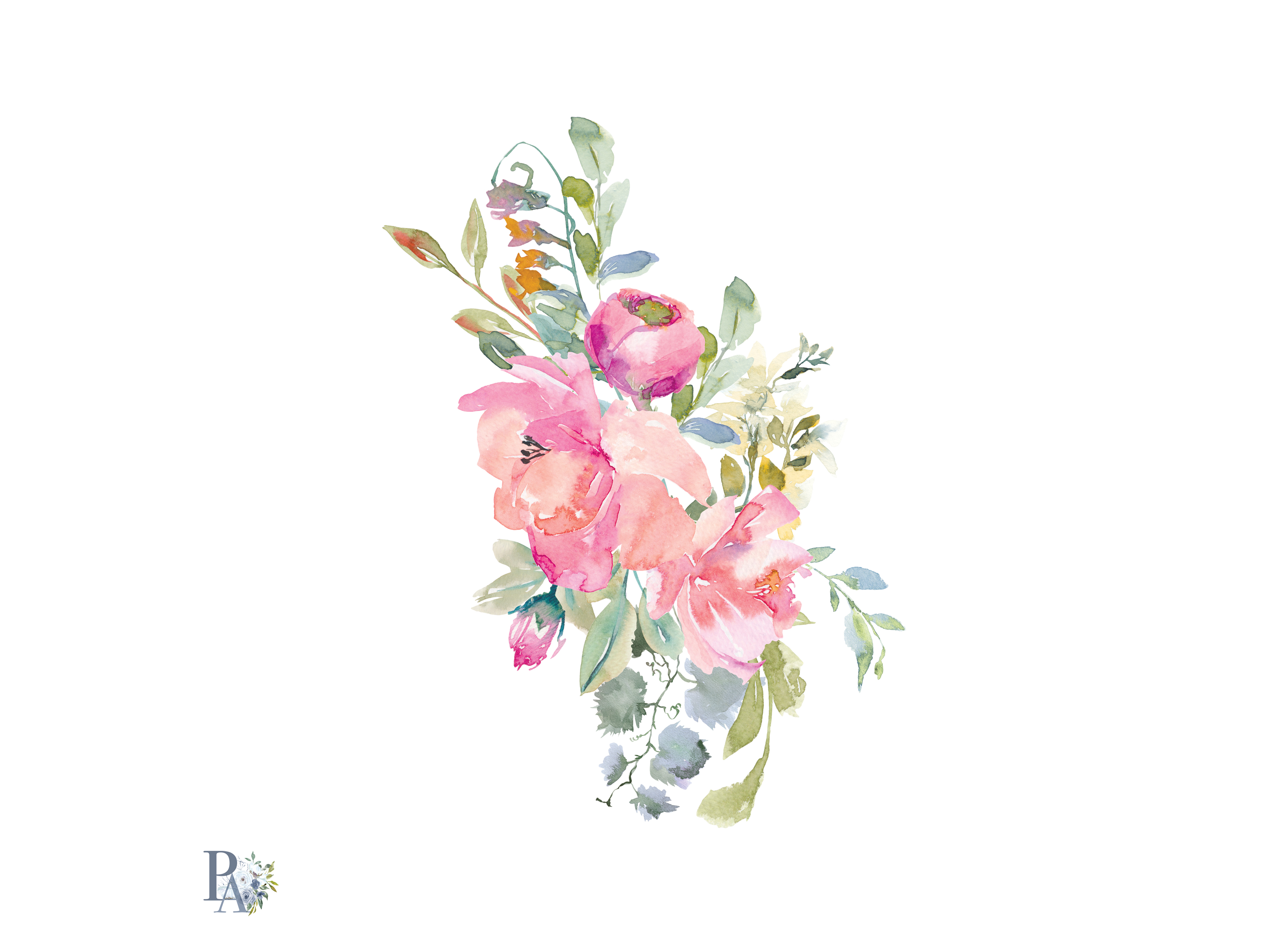 Hand Painted Watercolor Blush Pink Flowers Clipart (71232 ... (3874 x 2810 Pixel)