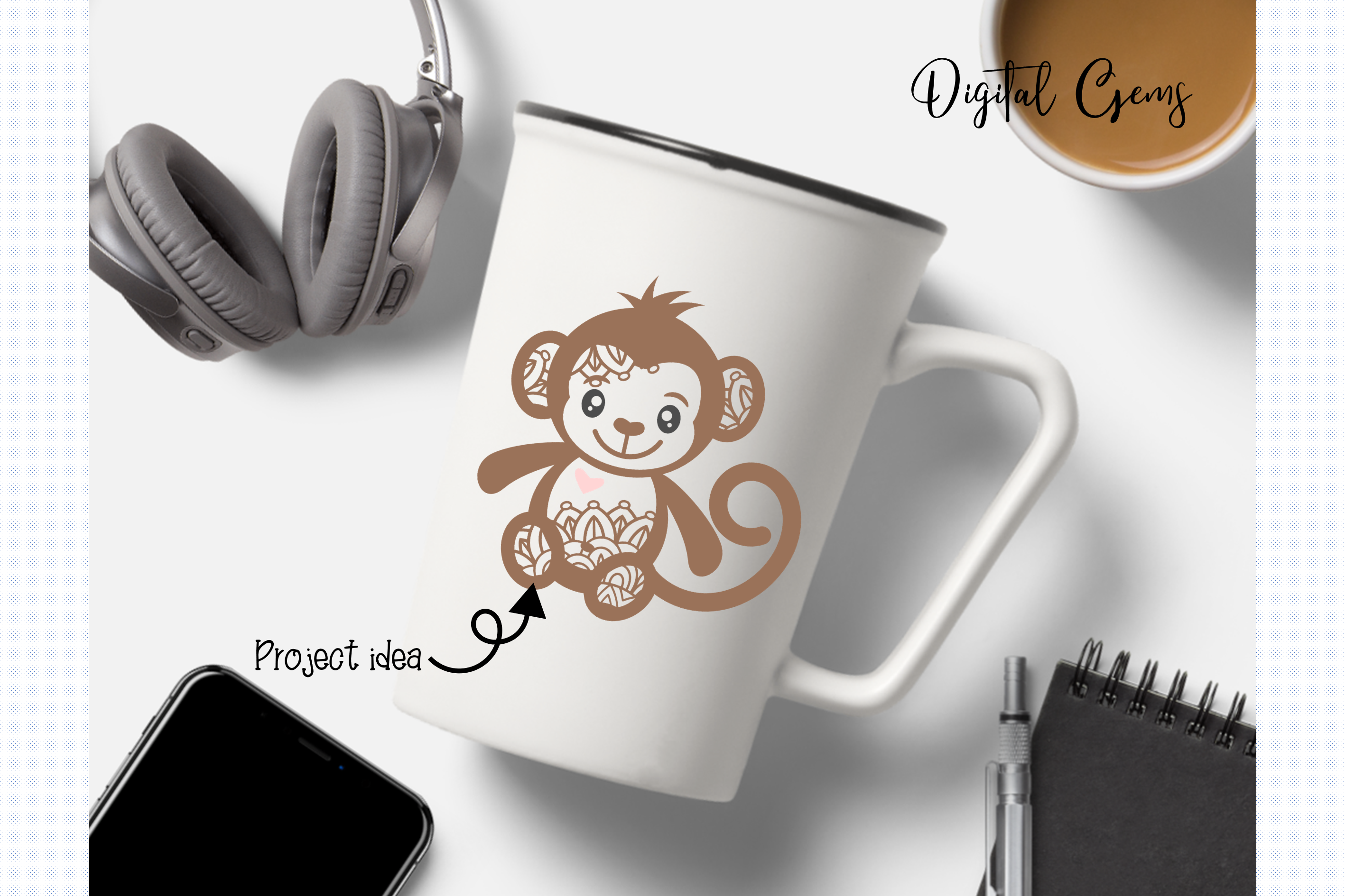 Monkey SVG / PNG / EPS / DXF Files example image 8