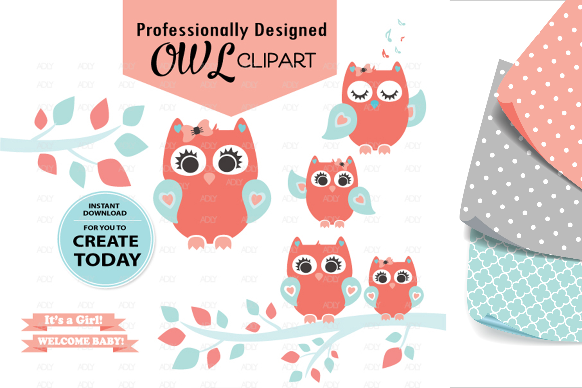Girl Owl,Baby Peach Turquoise,ClipArt,Digital Print,birthday example image 1