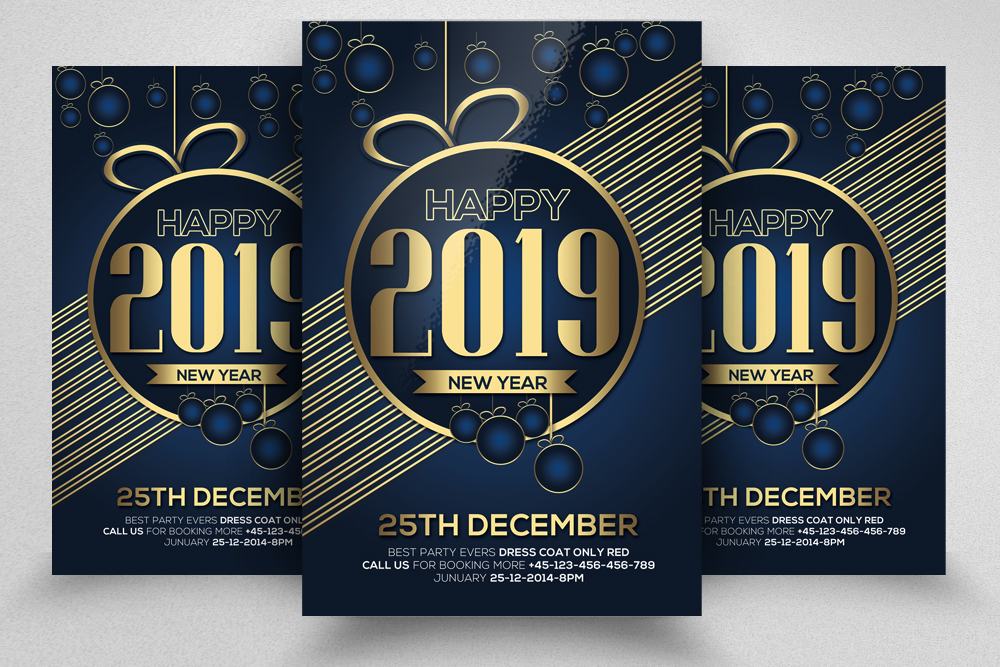 4 New Year Party Flyers Bundle example image 2