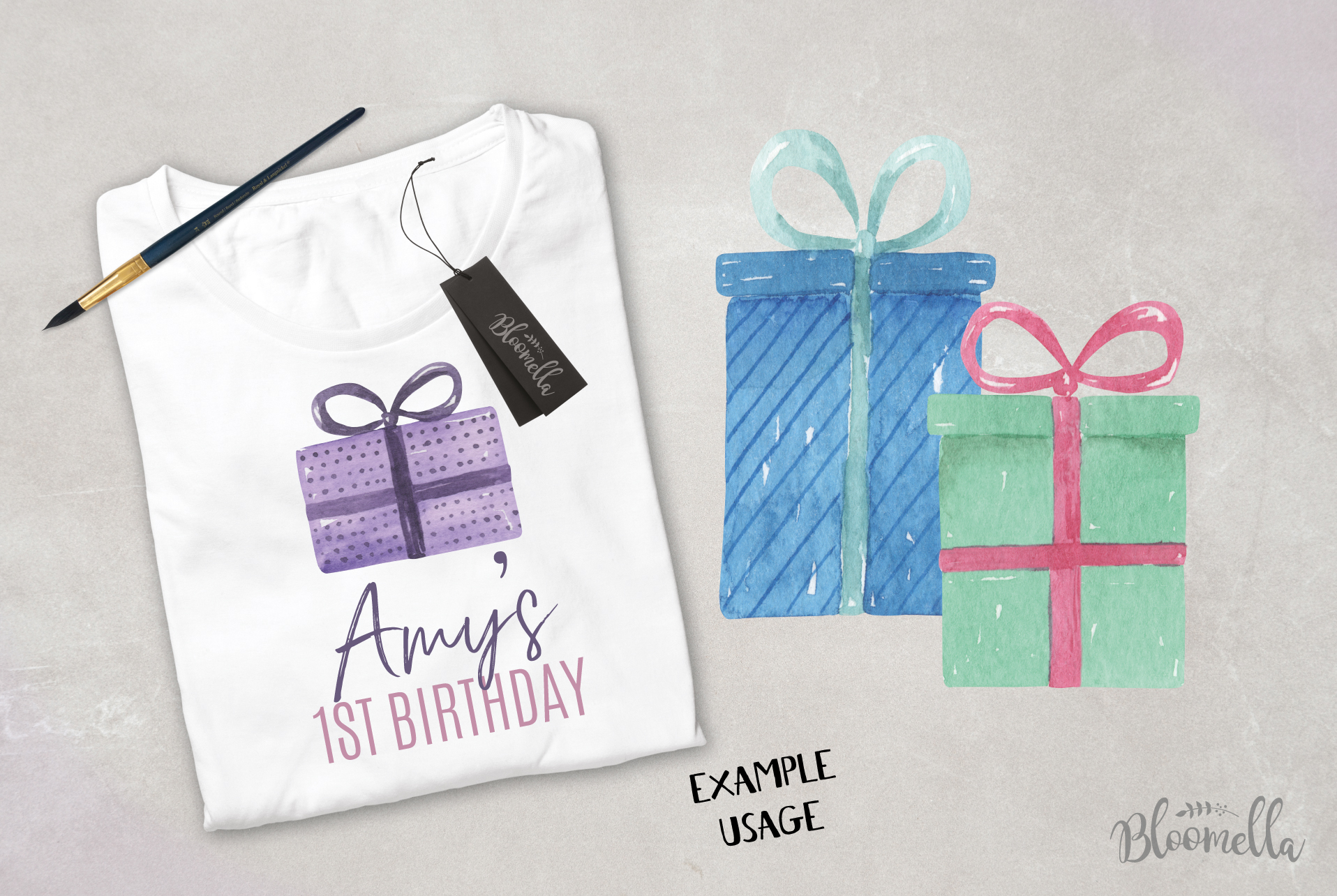 Watercolor Presents Gifts Clipart Elements Tags Banners Bows example image 5
