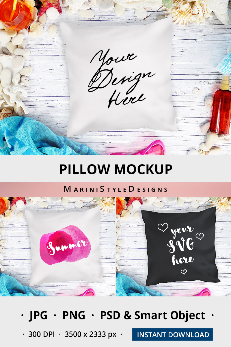 Summer Beach White Pillow Mockup, Black pillow mockup 961 example image 3