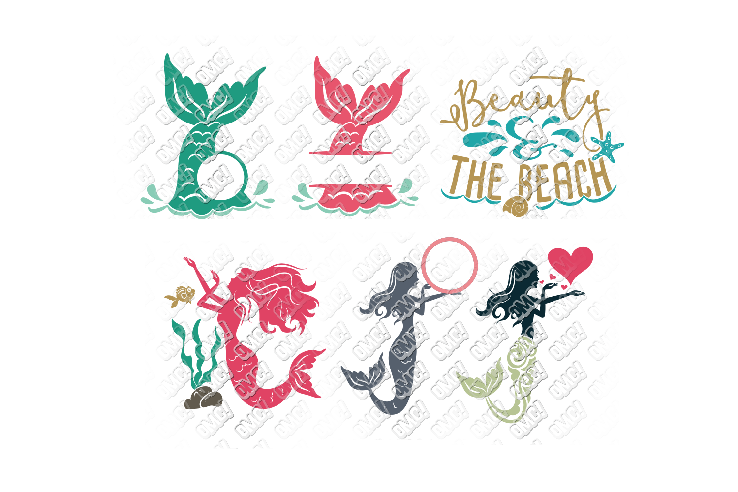 Mermaid SVG Bundle Quotes Sayings Monogram in SVG/DXF/PNG/JP example image 4