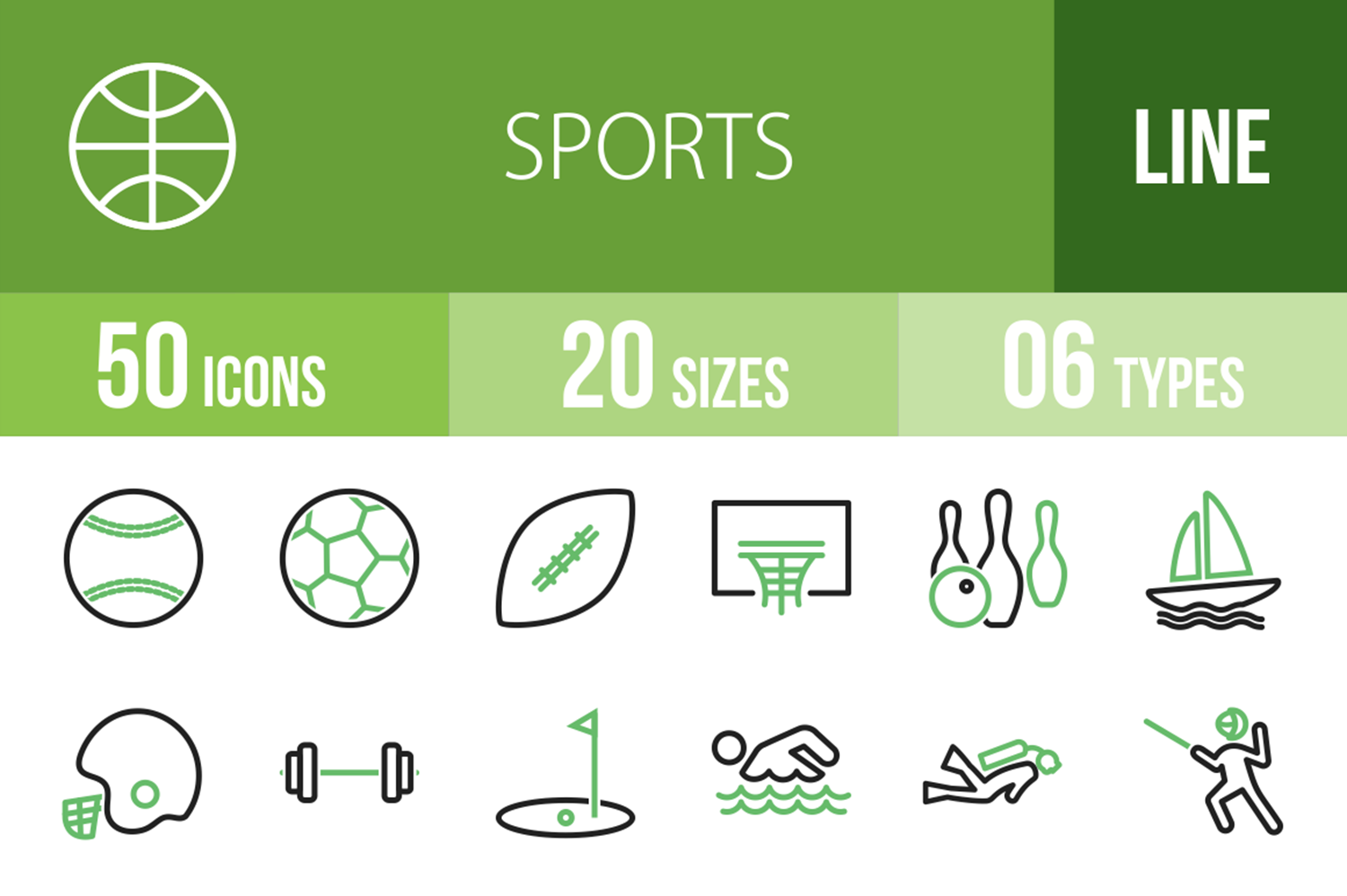 50 Sports Line Green & Black Icons example image 1