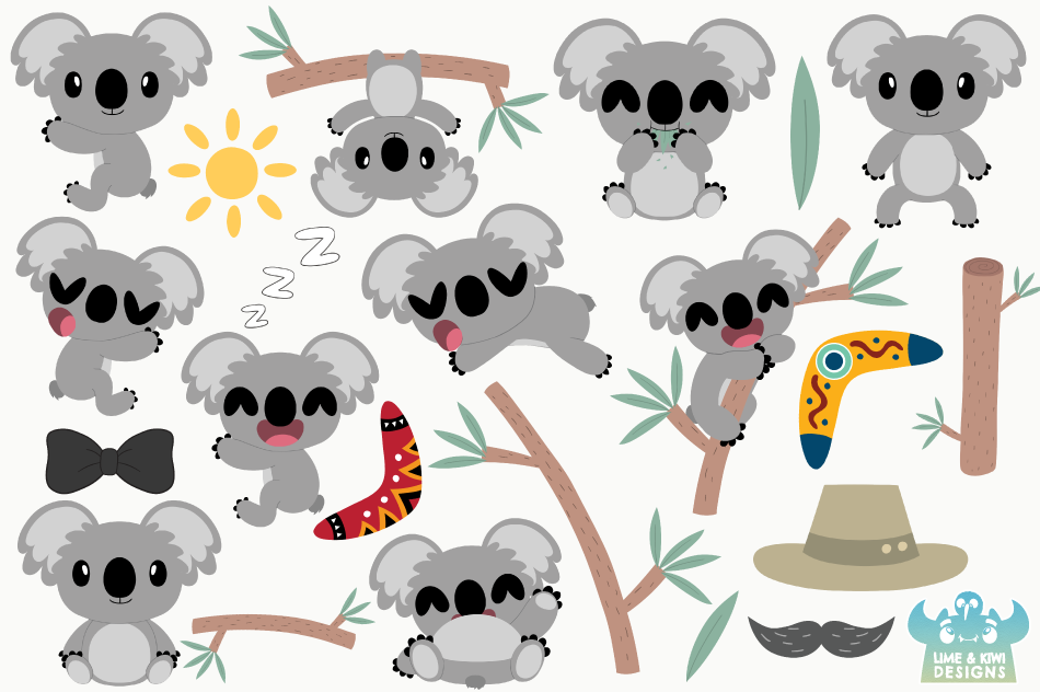 Koala Boys Clipart, Instant Download Vector Art example image 2