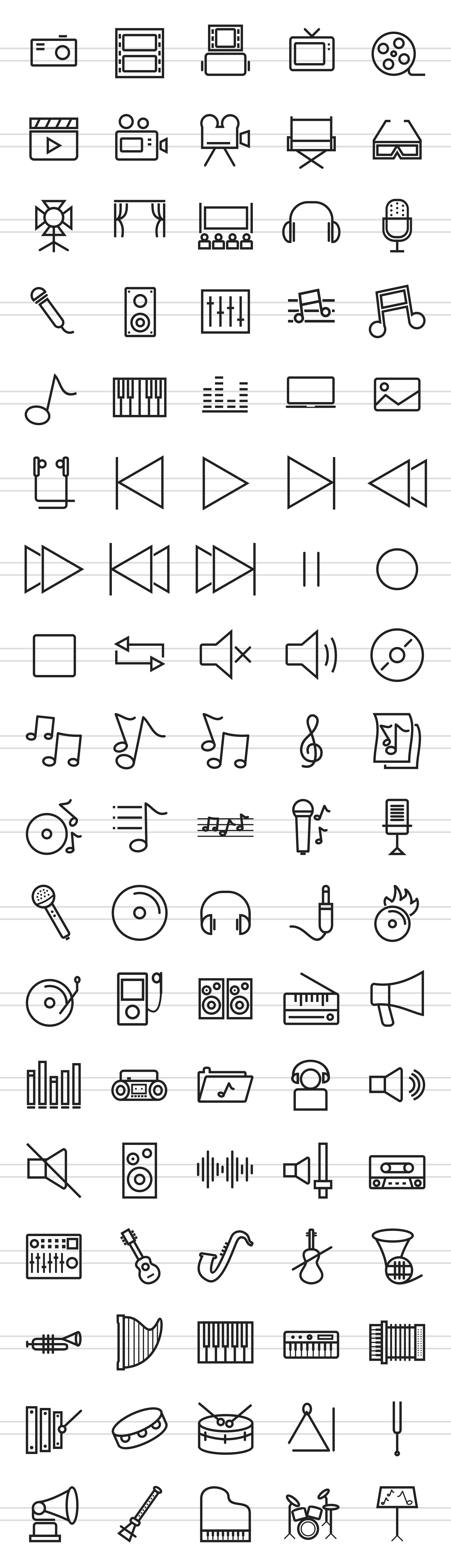 90 Music & Multimedia Line Icons example image 2