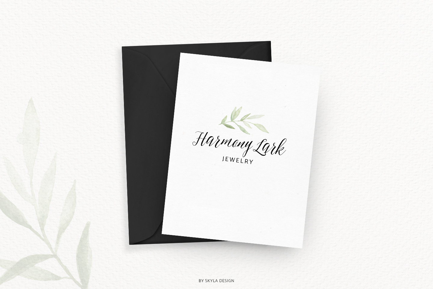Premade Logo bundle watercolor greenery templates example image 3