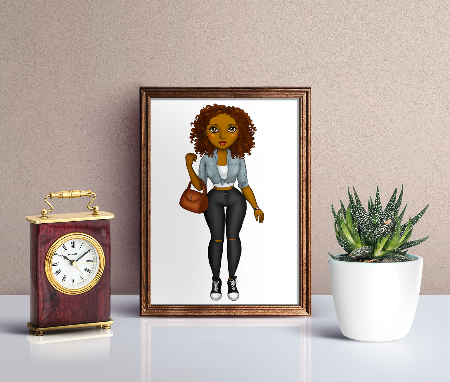 Street Fashion Girls Natural Hair Clipart, Black Girl Dolls example image 4