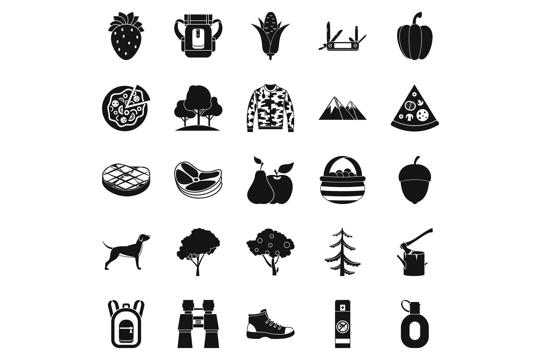 Wildlife icons set, simple style example image 1