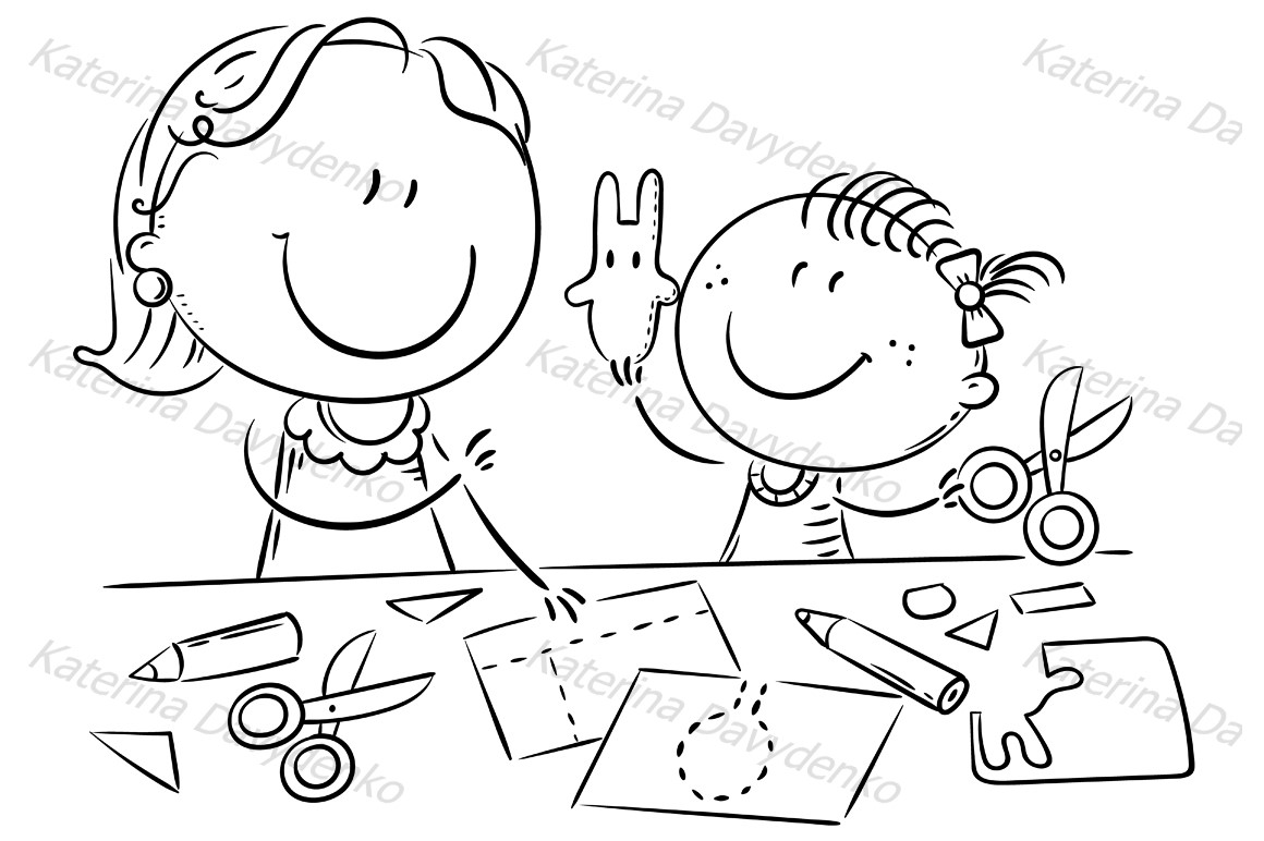Mother or teacher and a little girl enjoy crafting together example image 2