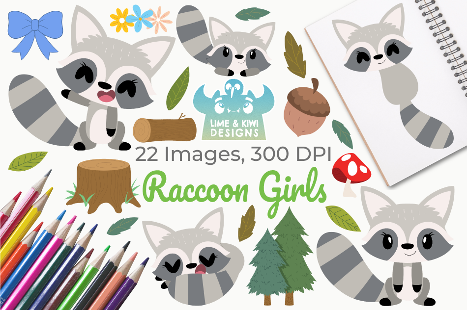 Raccoon Girls Clipart, Instant Download Vector Art example image 1